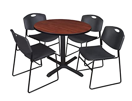 Amazon Com Cain 36 Round Breakroom Table Cherry 4 Zeng Stack