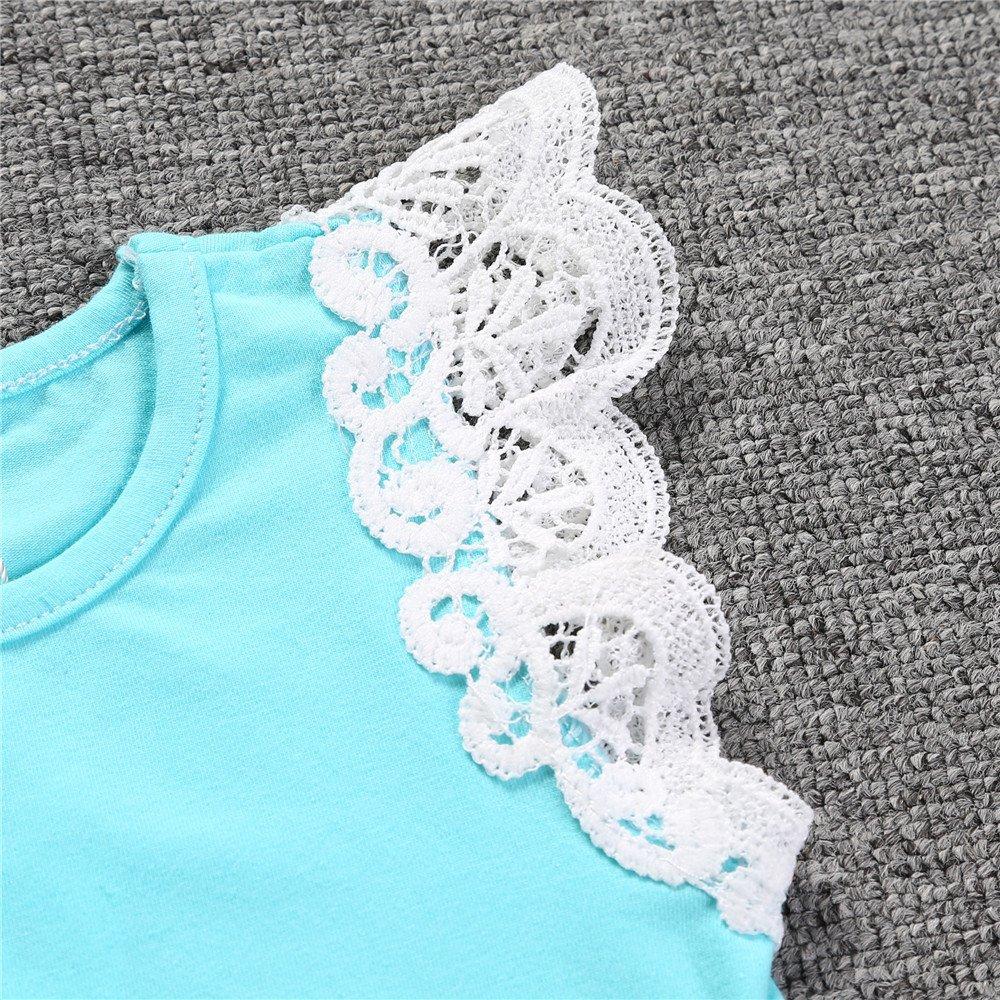 Kids Tales Summer Newborn Baby Girls Blue Lace Sleeveless T-Shirt Tee Tops