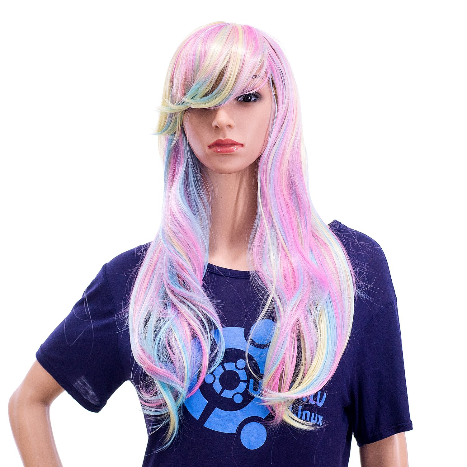 SWACC 26-Inch Long Curly Wave Cosplay Synthetic Wig Mixed Colorful Highlights by SWACC