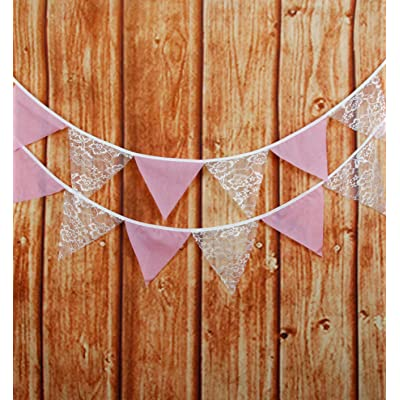 LOVENJOY Pink Burlap and White Floral Lace Cotton Pennant Banner for Wedding Bridal Shower Decoration: Garden & Outdoor