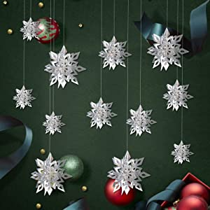 3D Christmas Hanging Snowflake Christmas Decorations-12pcs Winter Glittery Sliver Snowflake Garland for Window Xmas Trees Decor, Christmas New Year Party Birthday Holiday Winter Home Decoration
