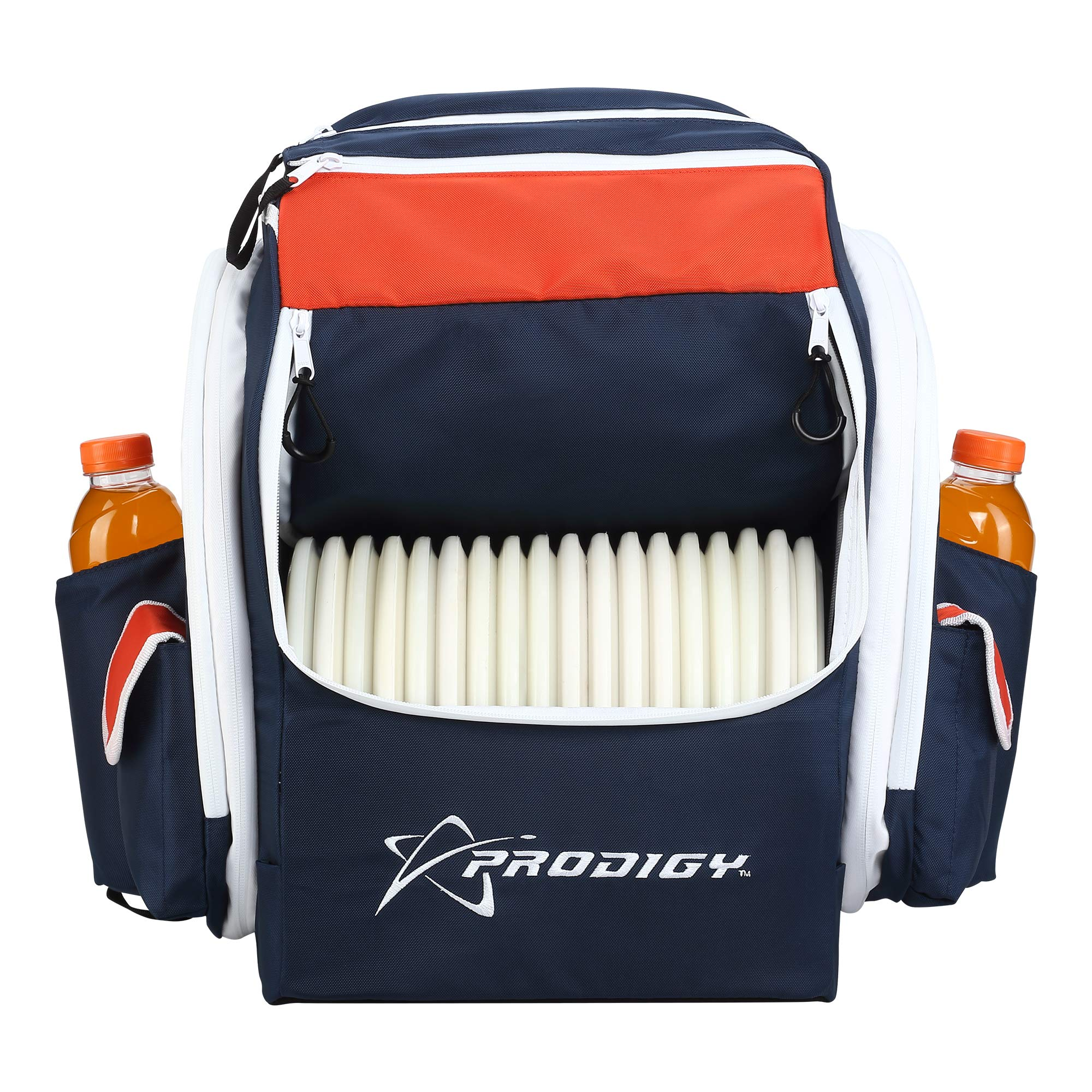 Prodigy Disc BP-1 V2 Disc Golf Backpack Bag - Fits 30+ Discs - Pro Quality (Navy Blue/Red, Rainfly)
