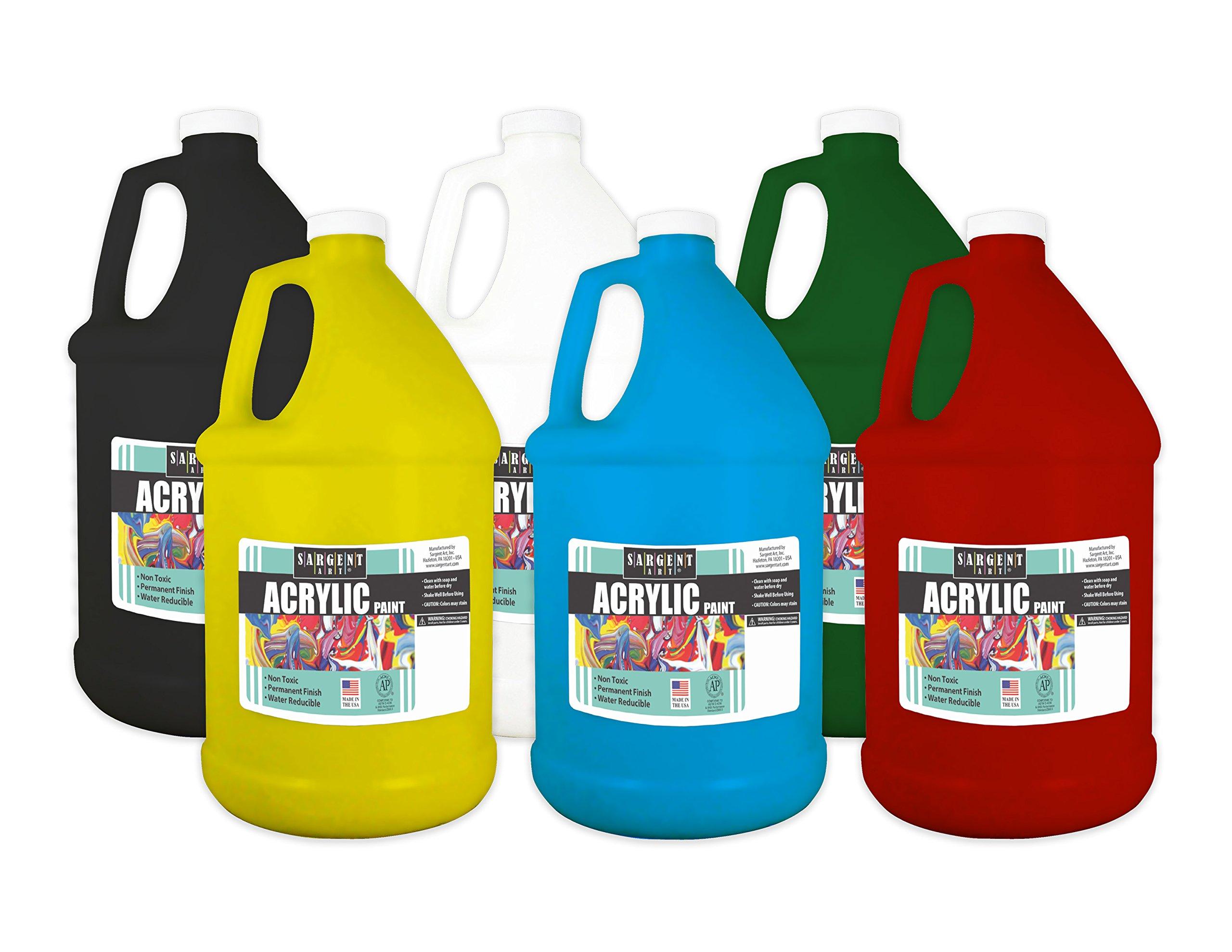 Sargent Art 22-3050 Acrylic Paint 1/2 Gallon Bottles, 6 Count by Sargent Art
