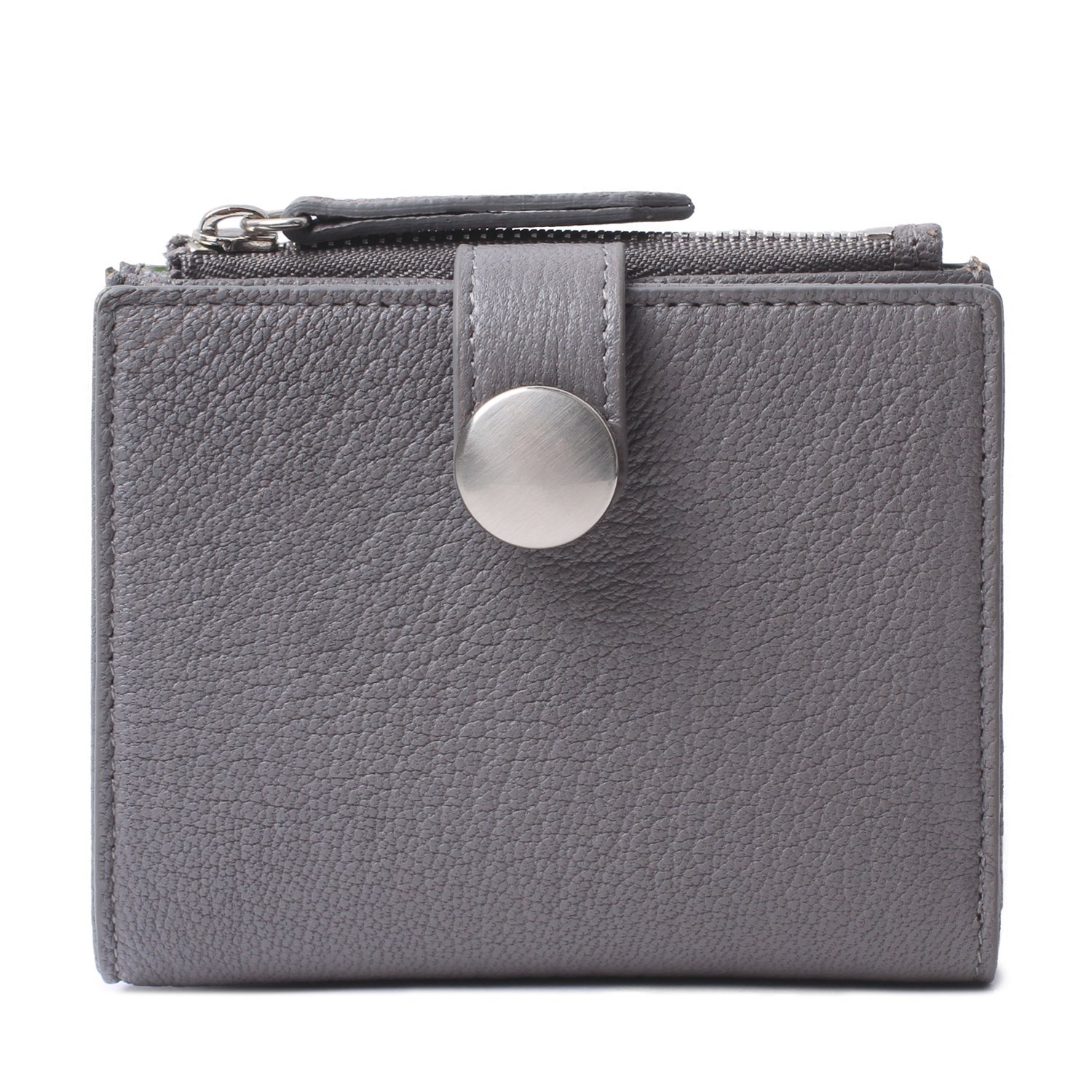 Katya Small Leather Bifold wallet and Zipper Coin Purse for Women (Grey)