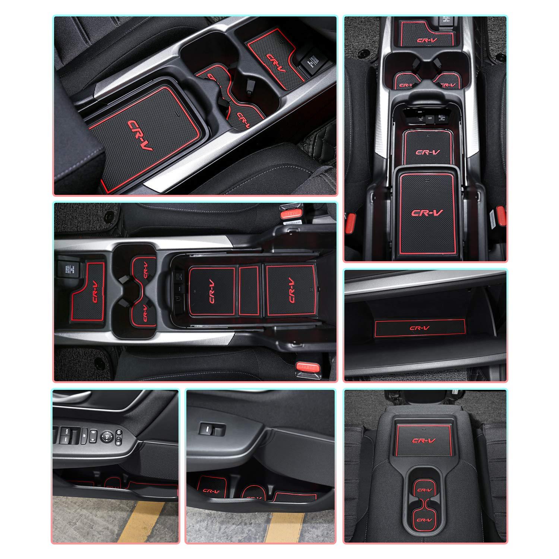 CDEFG Honda CR-V Accessoires CRV 2018 2019 Tapis Auto Tapis Anti-poussi/ère Antid/érapante Coupe Porte Int/érieure Tasse Bo/îte de Bras Tapis de Stockage Blanc