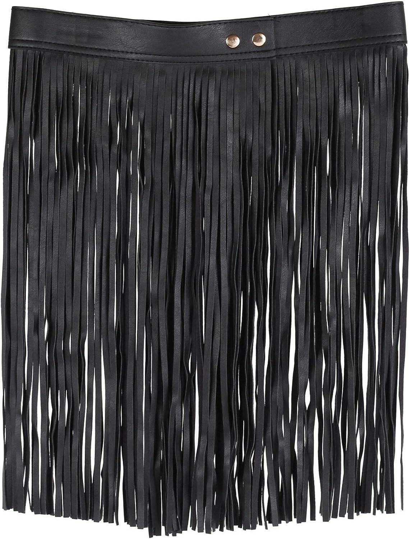 Pinzhi Mujeres Elásticos Mini Falda de Borla de Cuero PU con Flecos (Negro)