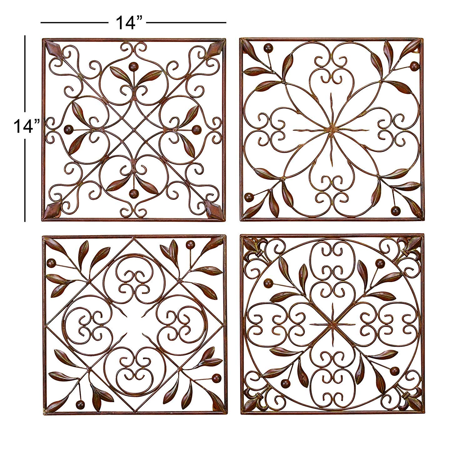 Deco 79 50035 Metal Wall Decor Set of 4 by Deco 79