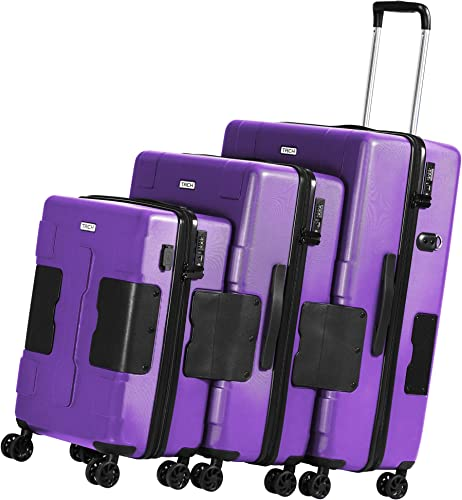 TACH V3 3-Piece Hardcase Connectable Luggage Carryon Travel Bag Set Rolling Suitcase with Patented Built-In Connecting System Easily Link Carry 9 Bags At Once purple