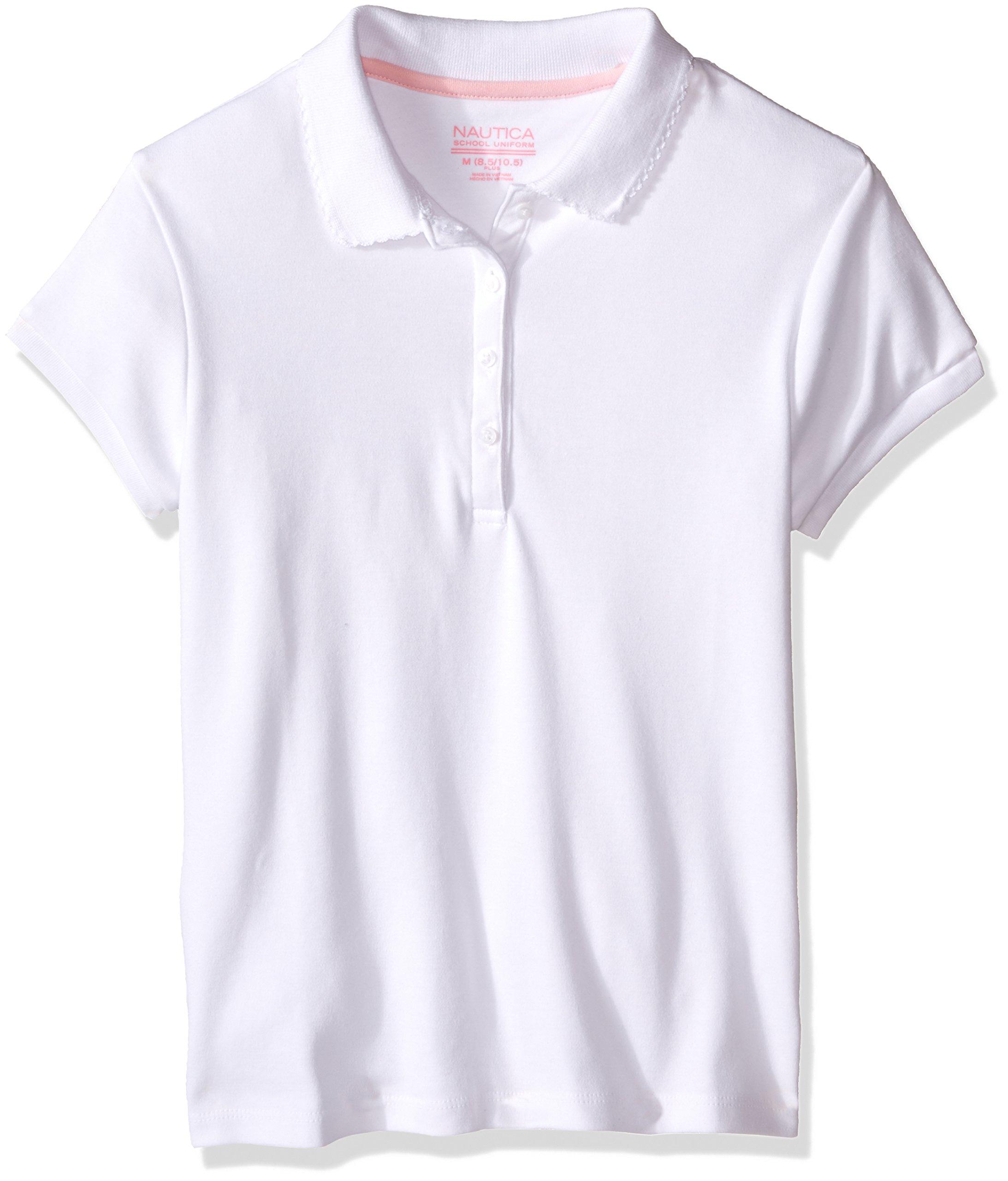 Nautica Girls' Short Sleeve Polo, White, Medium(8-10)