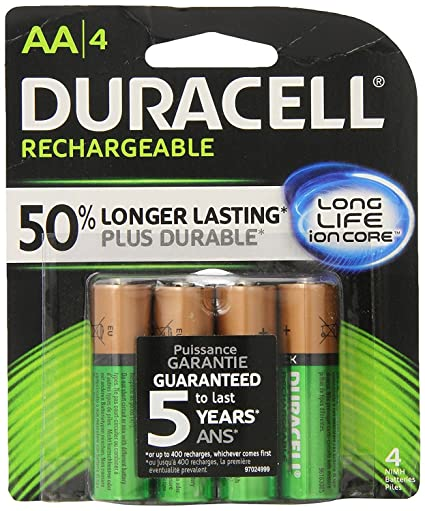 10ce0bb3ed4 Amazon.com: Duracell Rechargeable AA Batteries 4 Count (Packaging May  Vary): Electronics