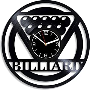 Kovides Billiards Vinyl Record Wall Clock Game Vinyl Clock Gift for Men Billiards Wall Clock Modern Sport Home Decor Game Gift Billiards Clock Sport Wall Art 12 inch Wall Clock