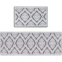 Kitchen Rug Set,LEEVAN Kitchen Floor Mats 2 Piece PVC Leather Anti Fatigue Comfort Heavy Duty Standing Mat Waterproof…
