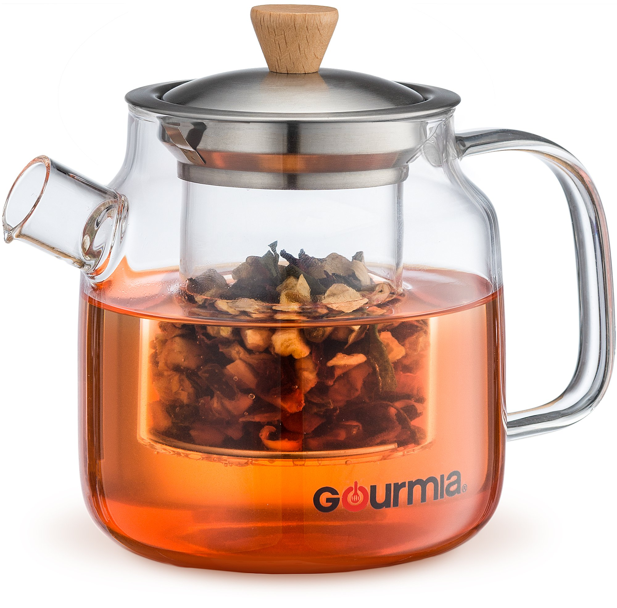 Gourmia GTP9810 Glass Tea Pot & Infuser With Handle, Lid & Loose Tea Filter, Removable Glass Infuser, 680ml Capacity