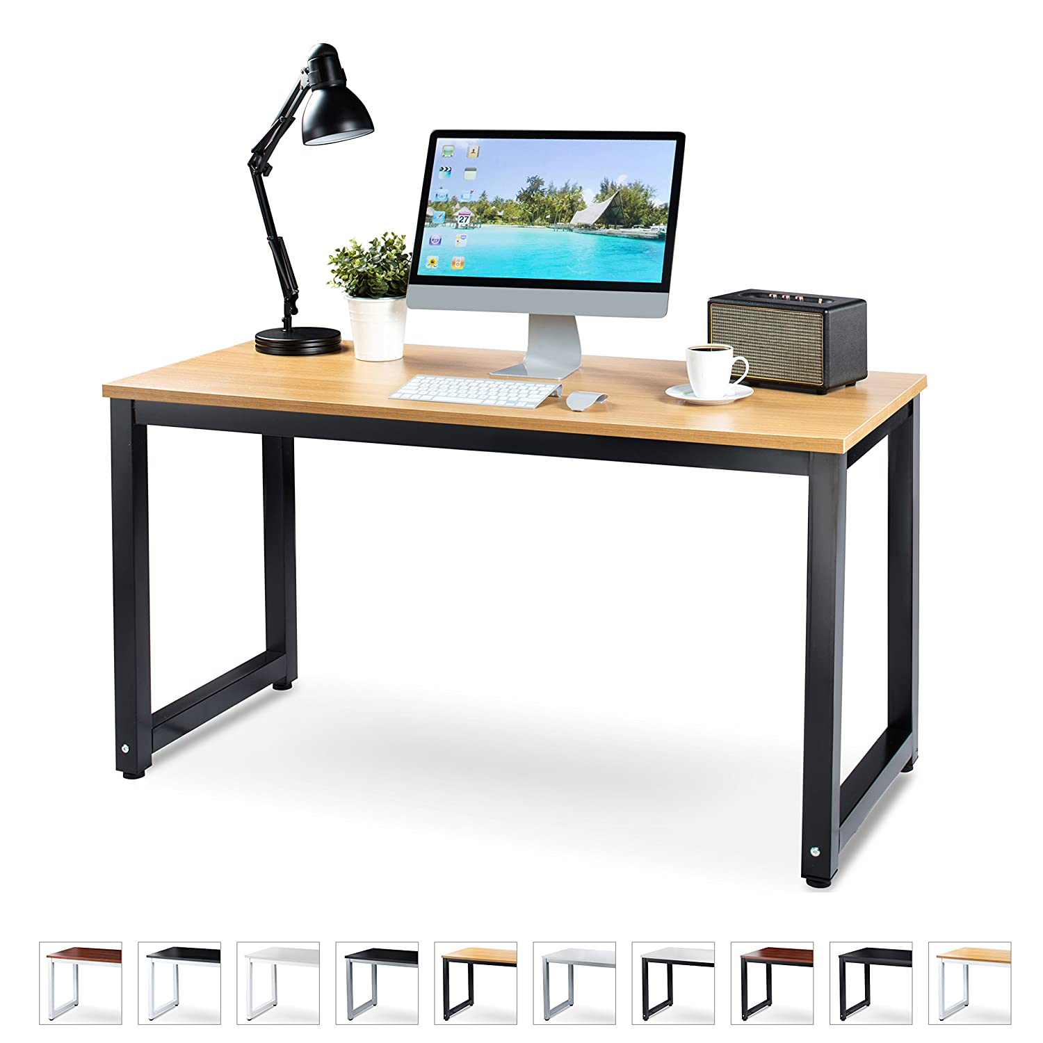 "Office Computer Desk – 55"" Teak Laminated Wooden Particleboard Table and Black Powder Coated Steel Frame - Easy Assembly - Work or Home - Tools and Instructions Included – by Luxxetta"
