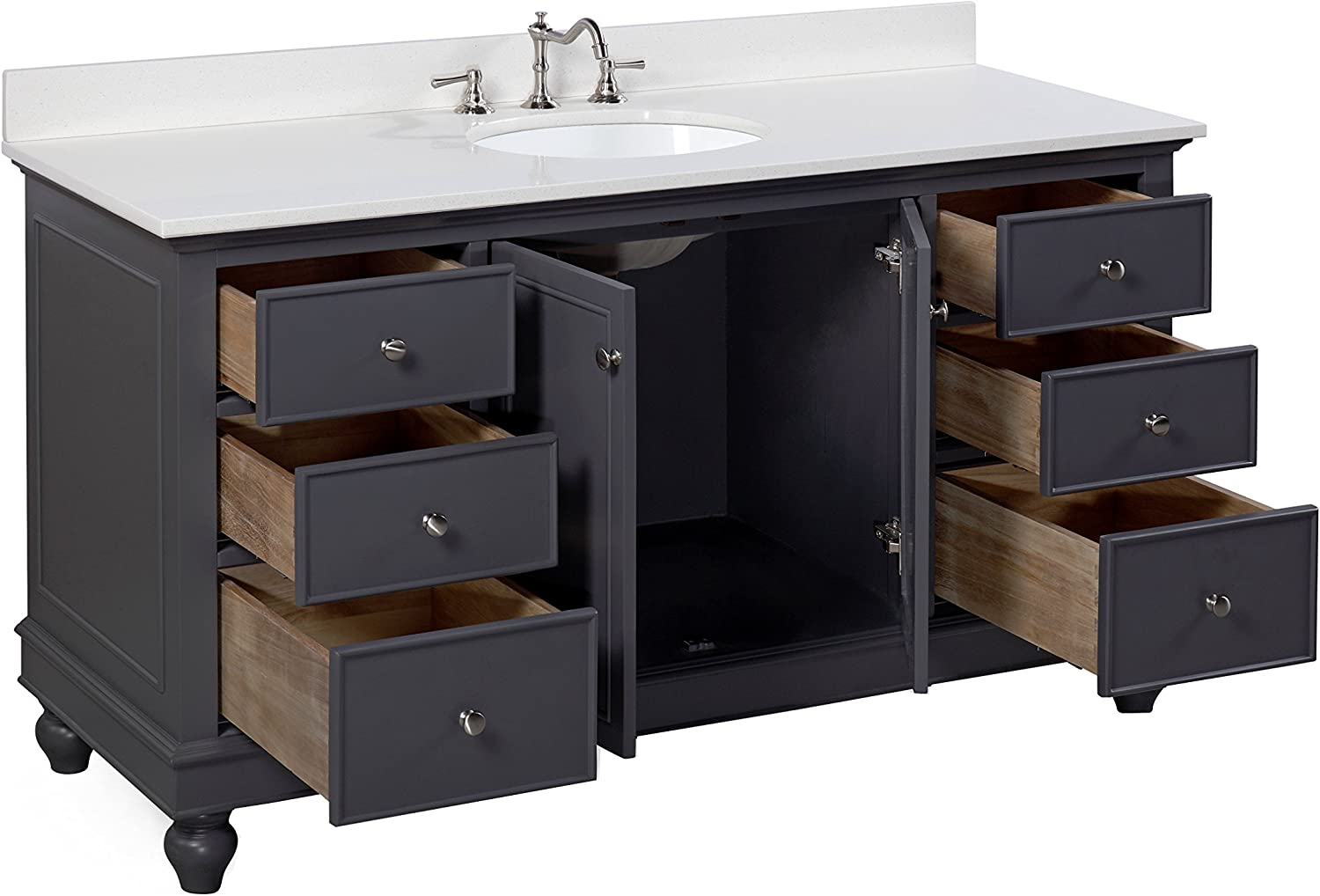 Amazon Com Bella 60 Inch Single Bathroom Vanity Quartz Charcoal Gray Includes Charcoal Gray Cabinet With Stunning Quartz Countertop And White Ceramic Sink Home Improvement