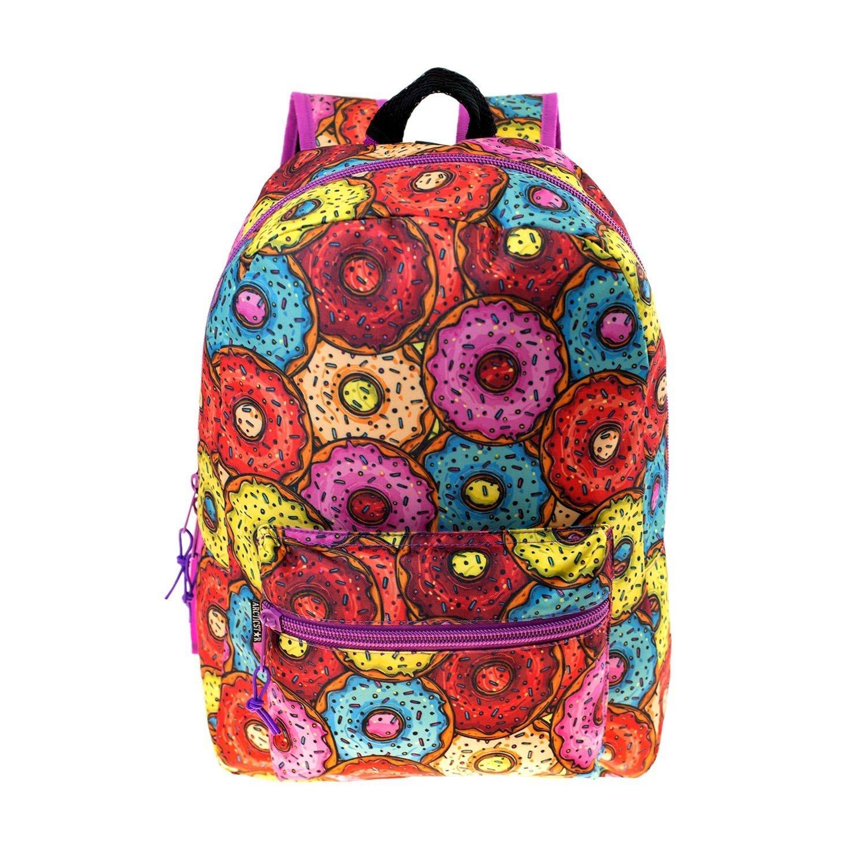 17'' Wholesale Kids Classic Padded Backpacks in DONUT Print - Bulk Case of 24 Bookbags