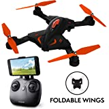 Force1 Foldable Drone with Camera Live Video with 720p HD Drone Camera Altitude Hold and 1 Key Control Quadcopter