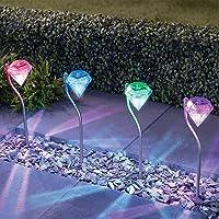 Lot de 4 Lampe Solaire, Changent de Couleurs en Acier Inoxydableen Forme de Diamand Lampe Solaire Extérieur By NORDSD
