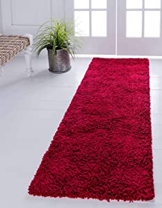 Unique Loom Solo Solid Shag Collection Modern Plush Cherry Red Runner Rug (2' 6 x 16' 5)