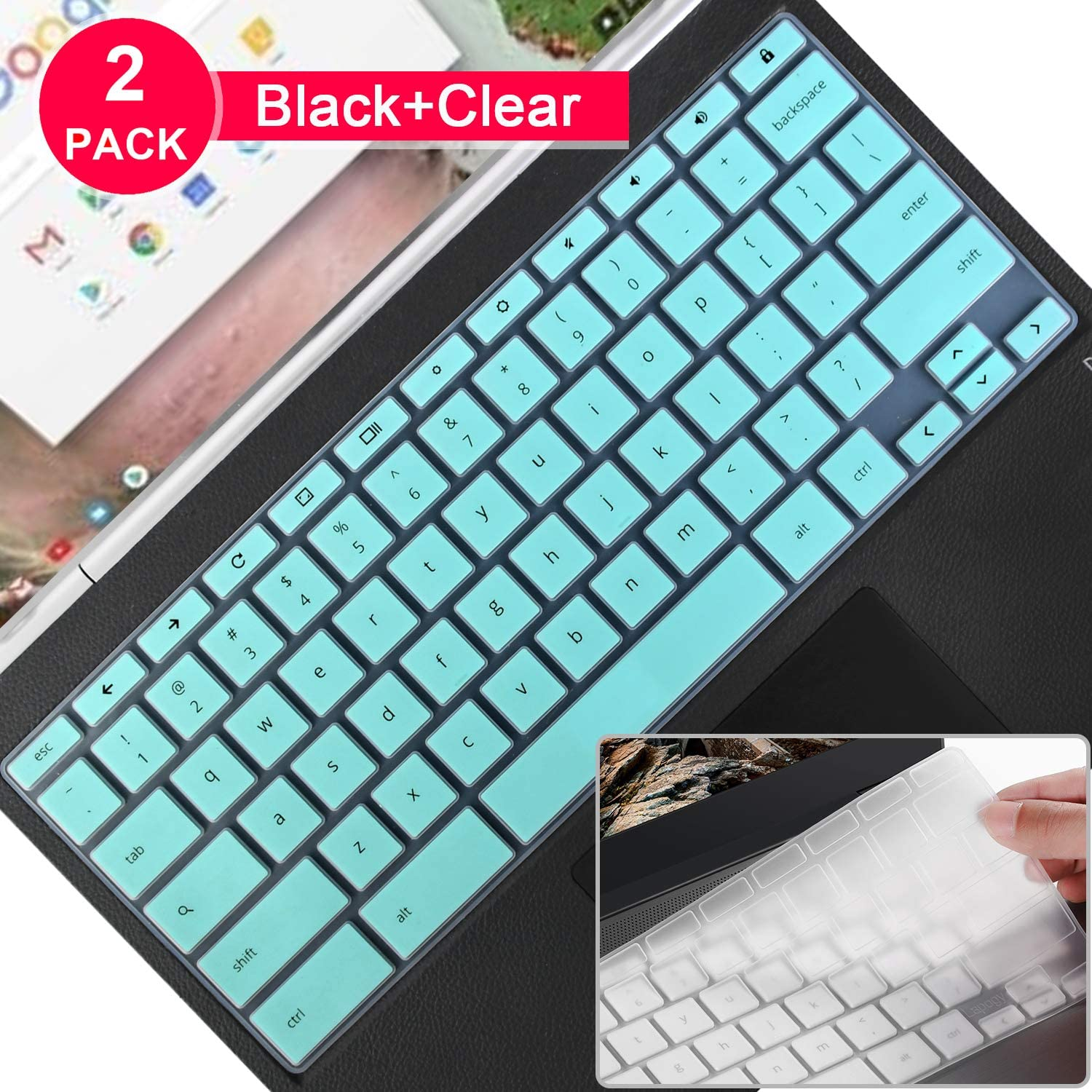 """2 pcs Lapogy Keyboard Cover Skin Compatible HP chromebook X2 2-in-1 12.3/14inch Touch-Screen Chromebook, 2020/2019 HP X360 14"""" HP chromebook 11/14,Premium Ultra Thin Keyboard Protector(Mint+Clear)"""