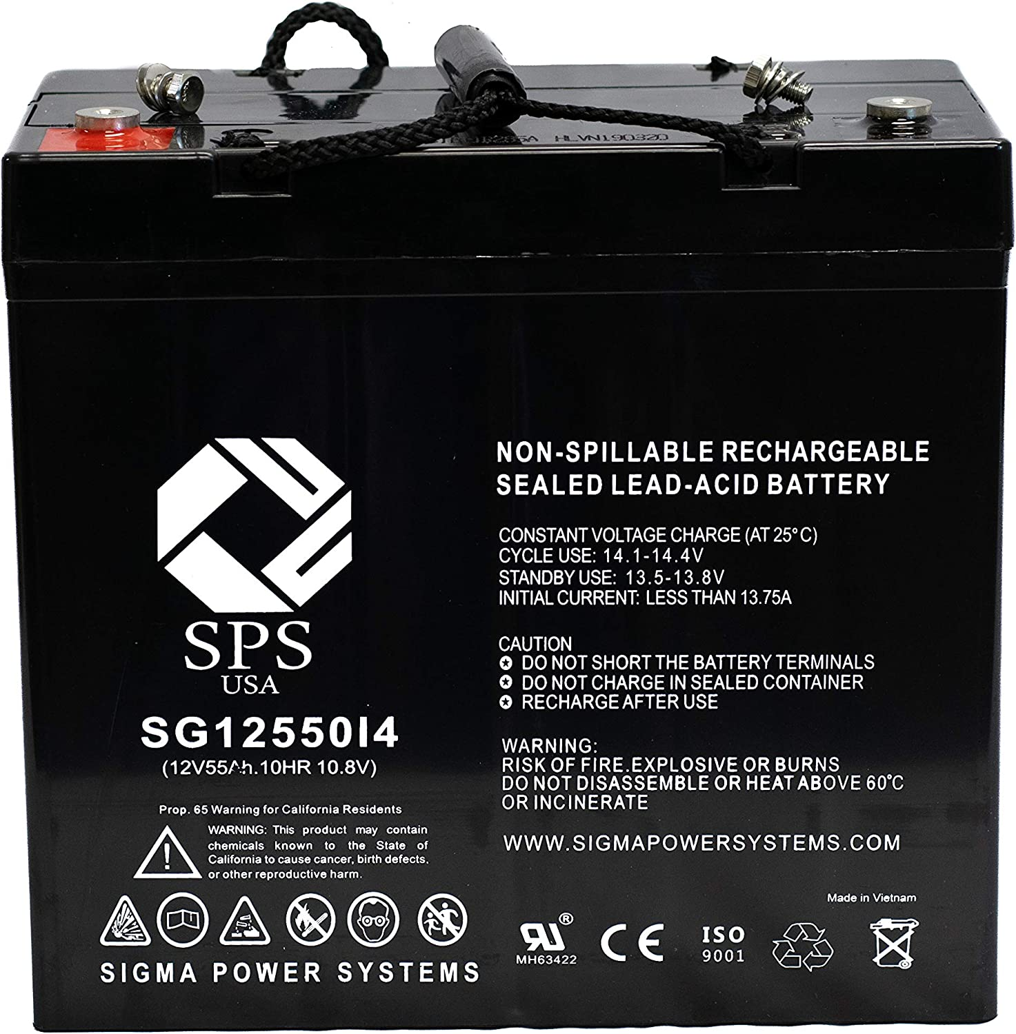 12V 55Ah C&D Dynasty TEL12-45, TEL-12-45 12V 55Ah UPS Replacement Battery (i4 Terminal) SPS Brand
