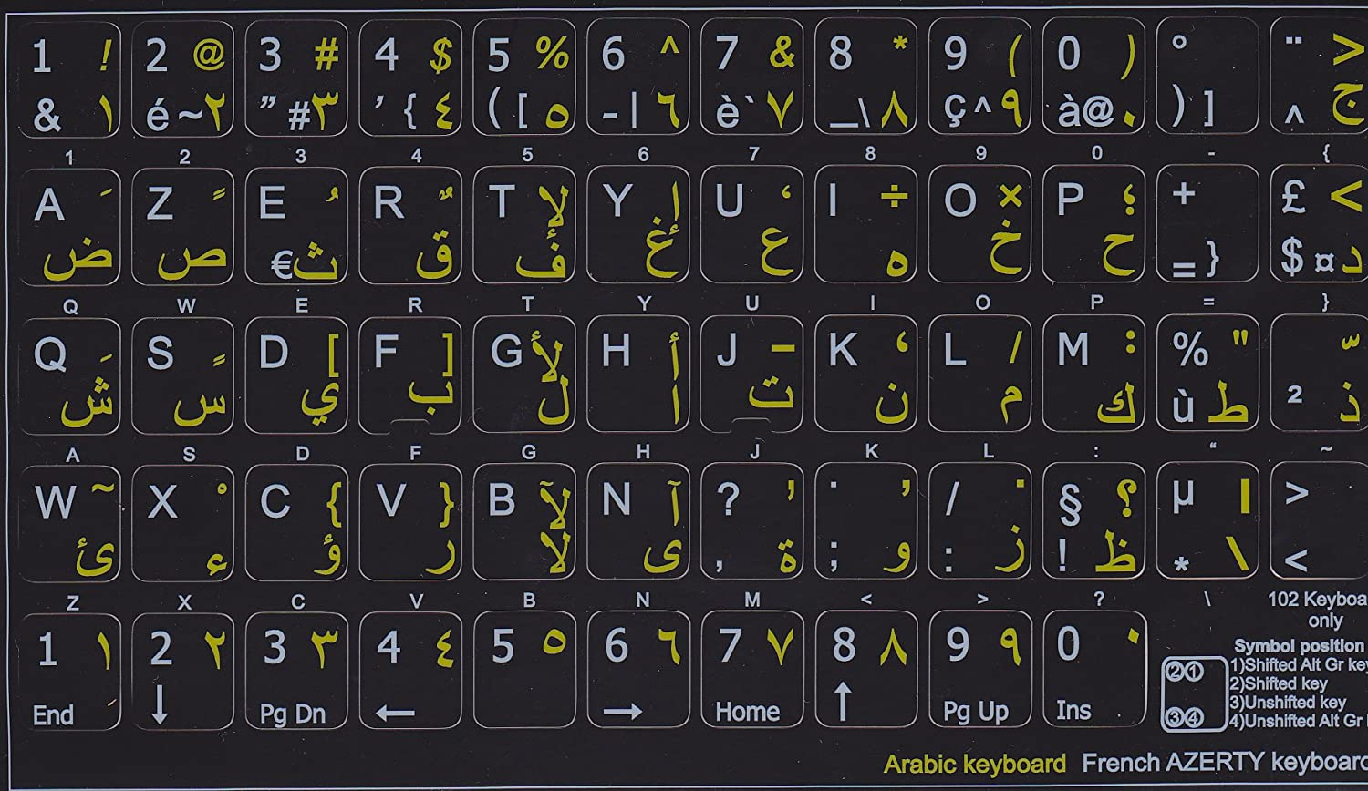 French aserty Keyboard Sticker Black Non Transparent