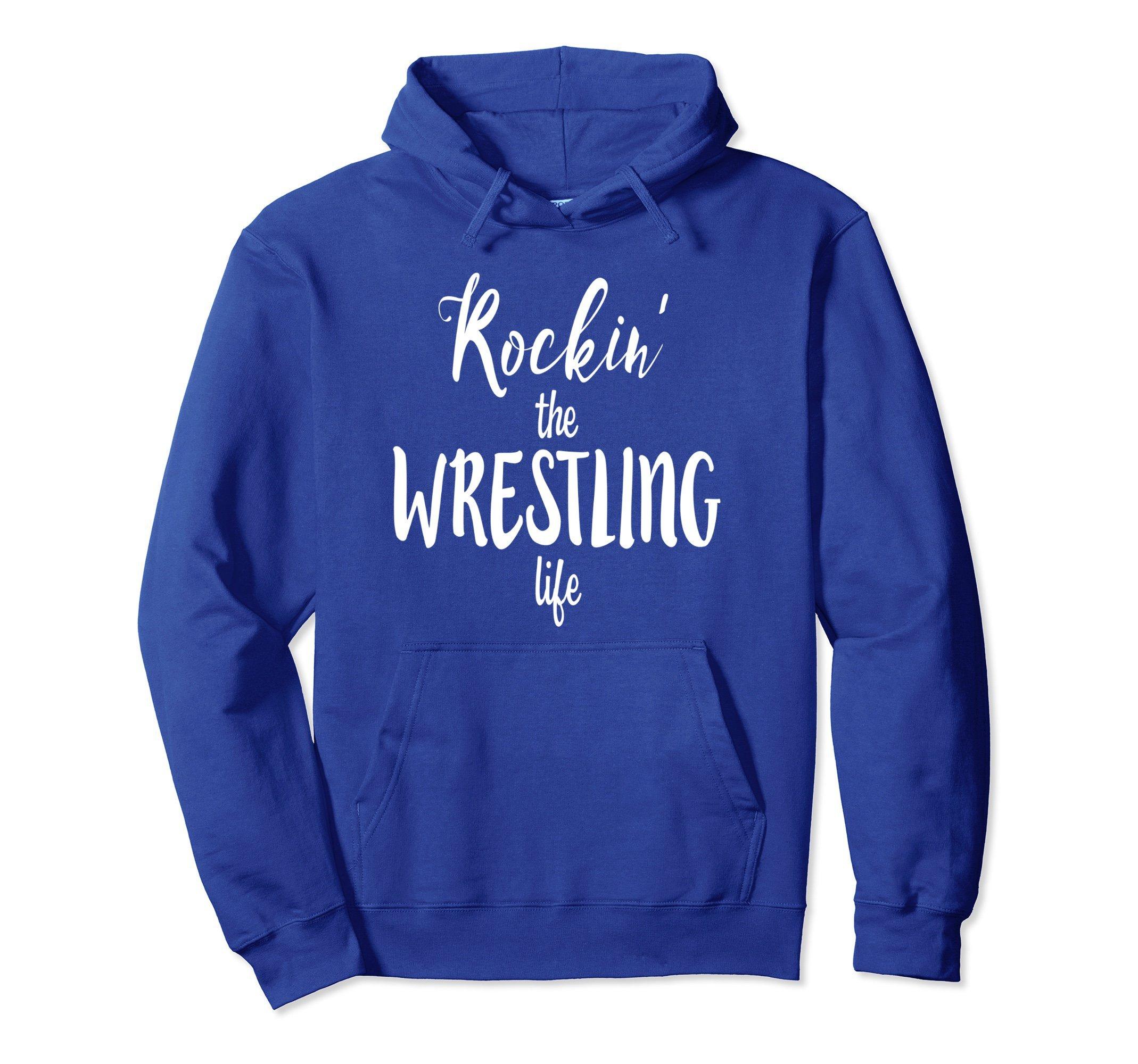 Unisex Rockin' the Wrestling Life Funny Wrestler HOODIE SWEATSHIRT 2XL Royal Blue