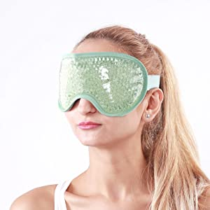 Hilph Gel Bead Eye Mask, Cold Eye Mask with Soft Plush for Hot& Cold Therapy, Reusable Cooling Eye Mask for Puffy Eyes, Migraine, Dark Circles, Dry Eye, Stress Relief(Green)