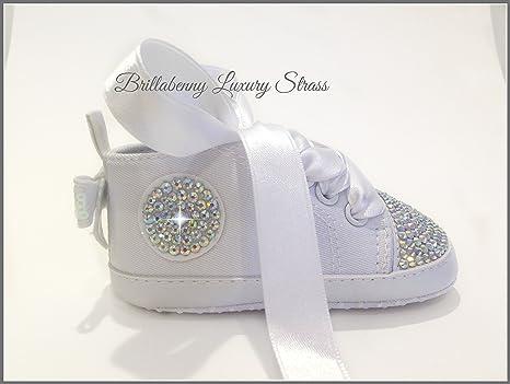 Zapatos 6 - 9 meses blancas + cristales brillantes aurora ...