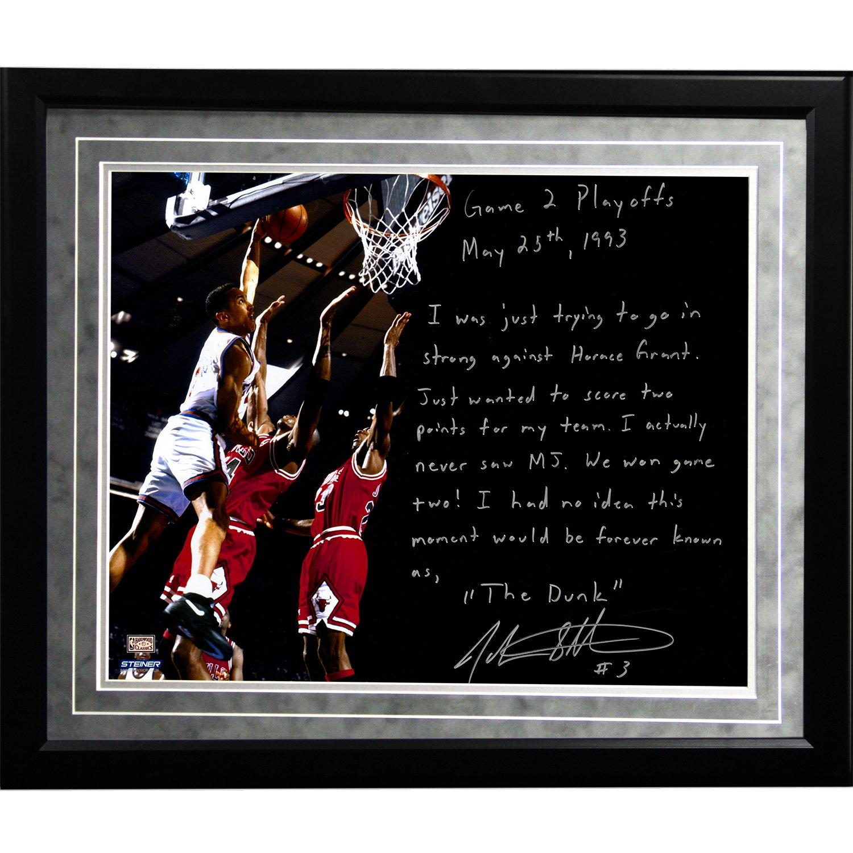 NBA New York Knicks Framed 16x20 John Starks Facsimile 'Game 2 Dunk Over Jordan' Story Photo