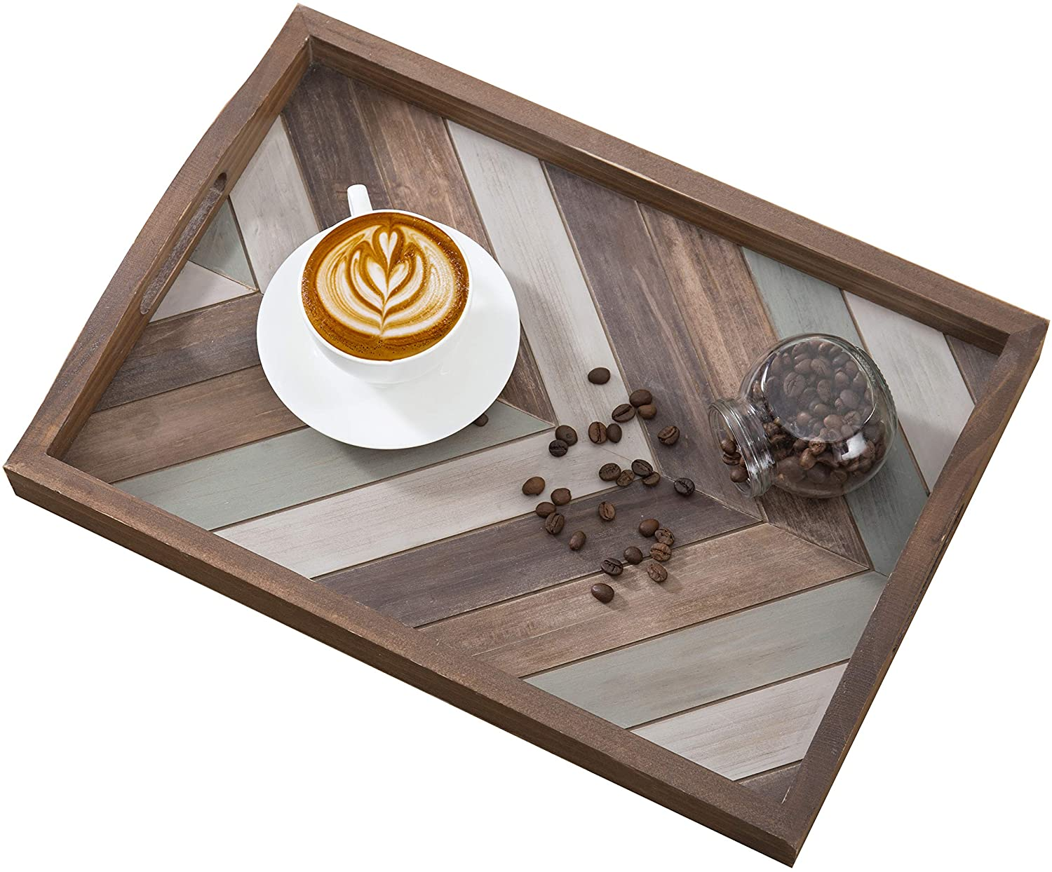 MyGift Multi-Colored Rustic Chevron Wood Decorative Tray with Cutout Handles