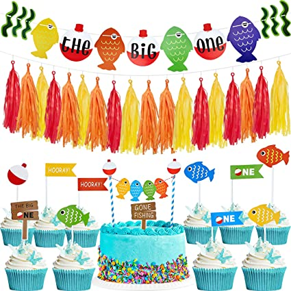 Awe Inspiring The Big One Fish Cake Topper First Birthday Party Banner And Funny Birthday Cards Online Overcheapnameinfo