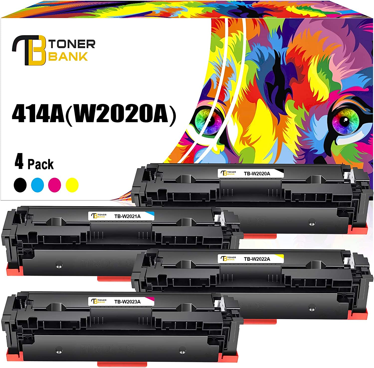 Toner Bank Compatible Toner Cartridge Replacement for HP 414A 414X for HP Color Laserjet Pro MFP M479fdw M479fdn M454dw M454dn M454 M479 W2020A W2021A W2022A W2023A (Black Cyan Magenta Yellow, 4-Pack)