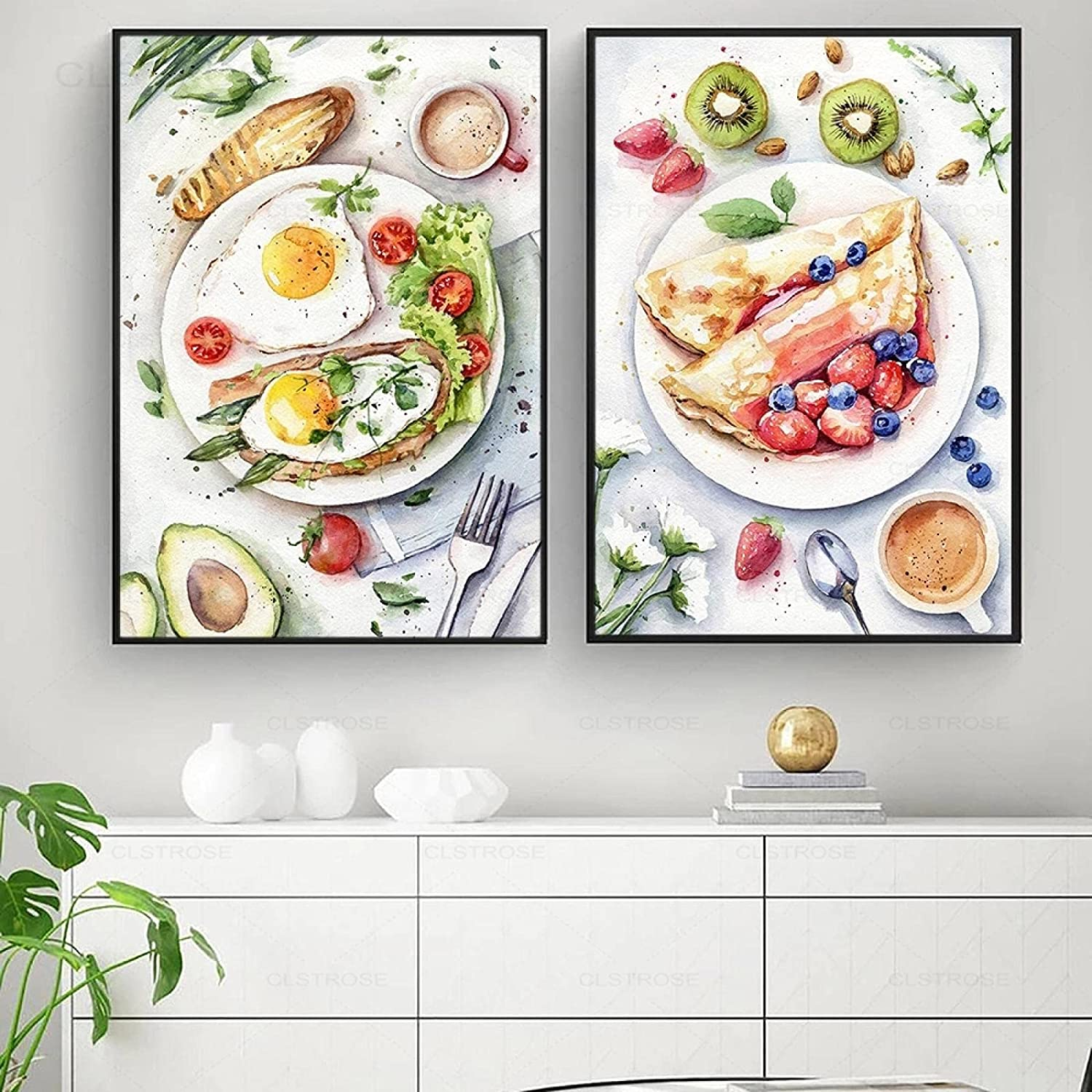 Giclee Canvas Painting Kitchen Watercolor Poster and Print Foods Fruits Pictures Brunch Breakfast Nordic Style Home Decor - (50X70cm)X2 Unframed