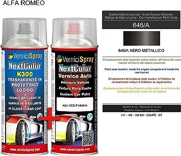 Kit Vernice Auto Spray 846/A NERO METALLICO e Trasparente Lucido