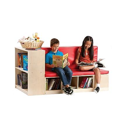 Guidecraft Modular Library Storage Set With Seat, Children Bookcase Shelves    Kids Furniture Cubbies