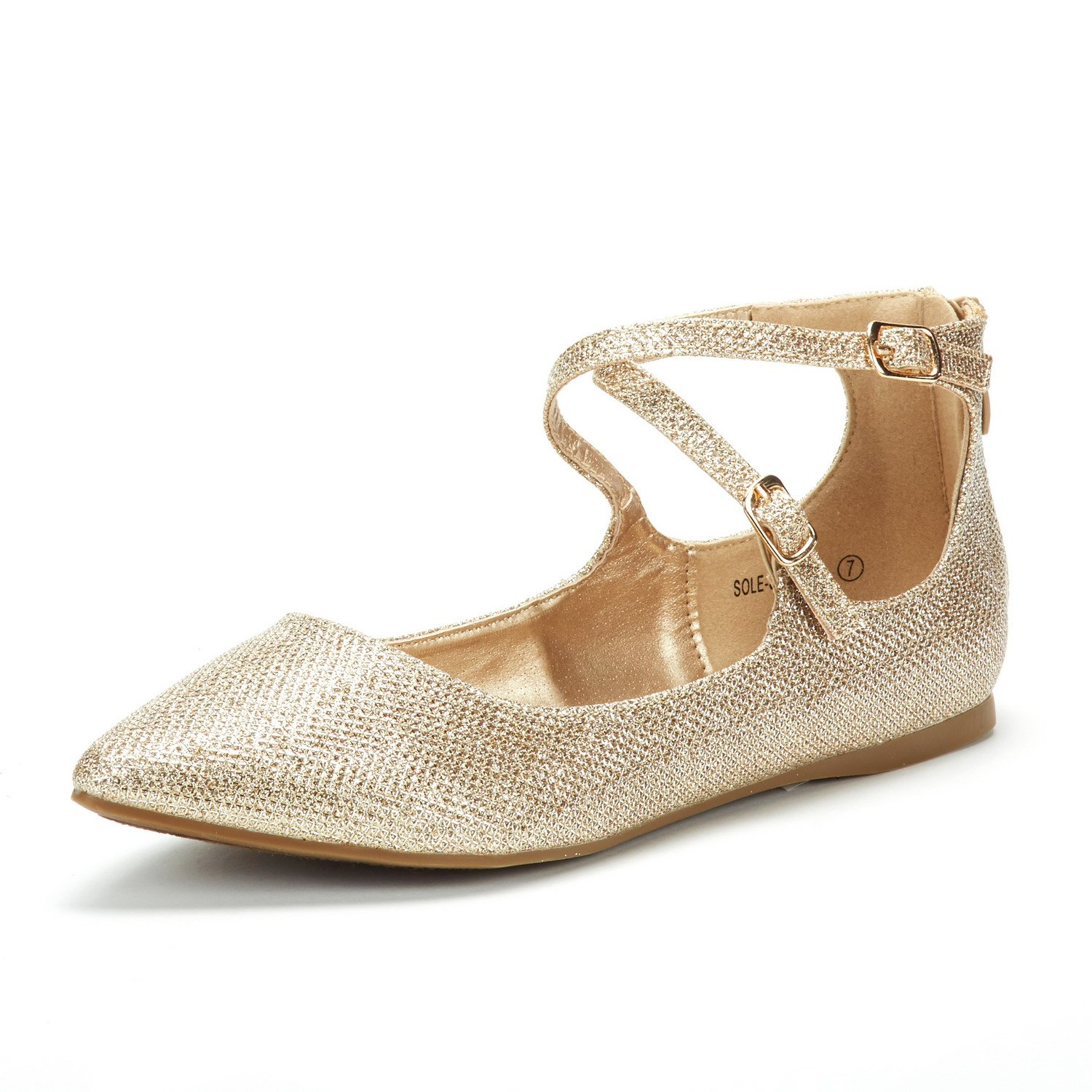 DREAM PAIRS Women's Sole-Strappy Gold Glitter Ankle Straps Flats Shoes - 5 M US