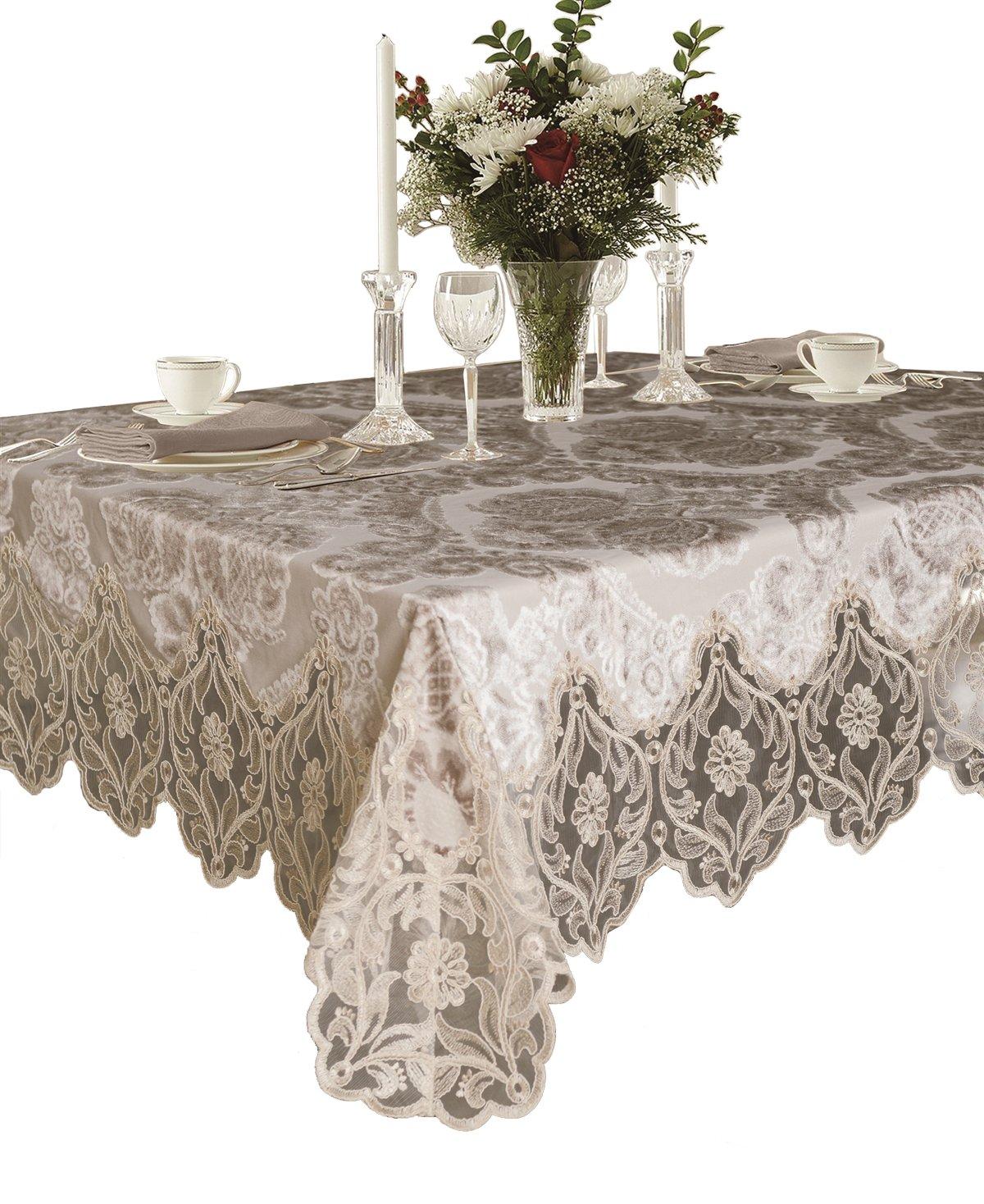 Violet Linen Elegant Velvet Lace Sheer Floral Deluxe Design Tablecloths, 70'' x 120'', Taupe