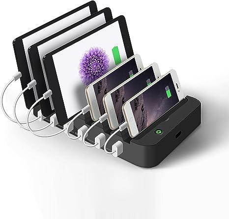 JZBRAIN 6 Port USB Ladestation,Ladedock,Universal Schwarz Dockingstation,Ladegerät Desktop Ladestation für Smartphone Pad und mehr USB Geräte Charged