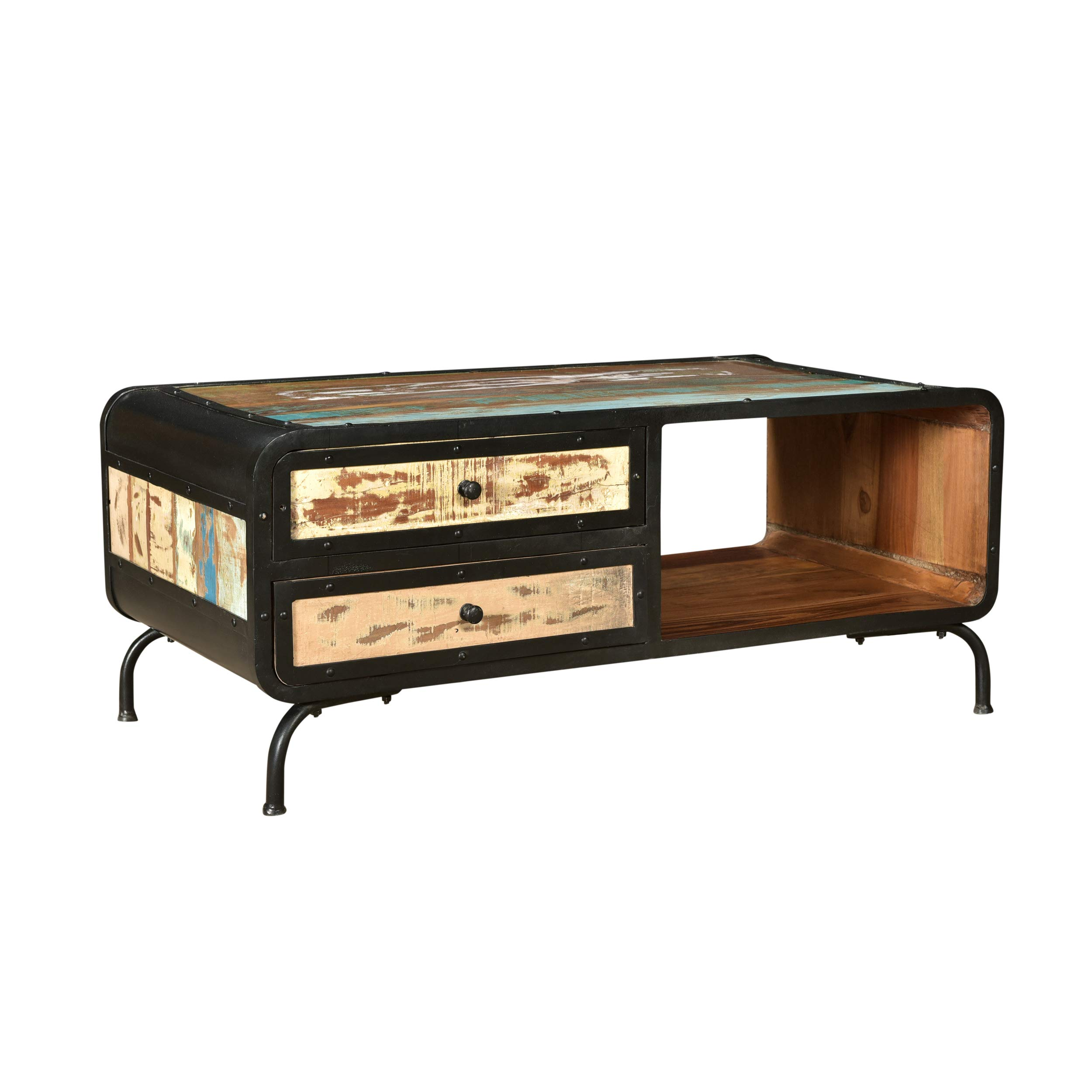 Christopher Knight Home Abby Boho Industrial Recycled Wood TV Stand, Distressed Paint, Black by Christopher Knight Home