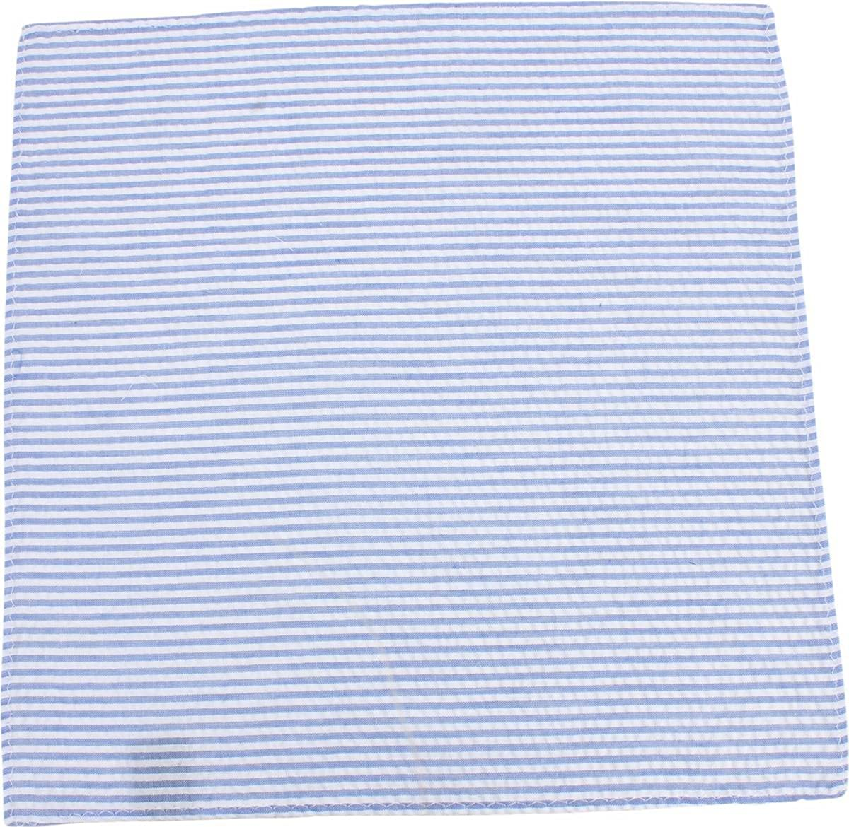 Knightsbridge Neckwear Mens Striped Cotton Pocket Square Sky Blue//White