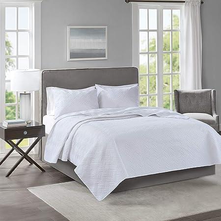 510 Design Lucca 3 Piece Reversible Embossed Quilt Set Coverlet Bedding Full//Queen Size Grey