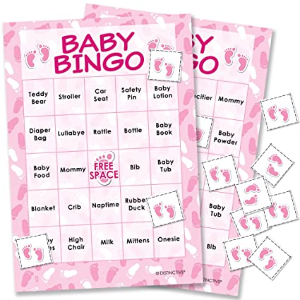 amazon com it s a girl baby shower bingo game 24 guests kitchen