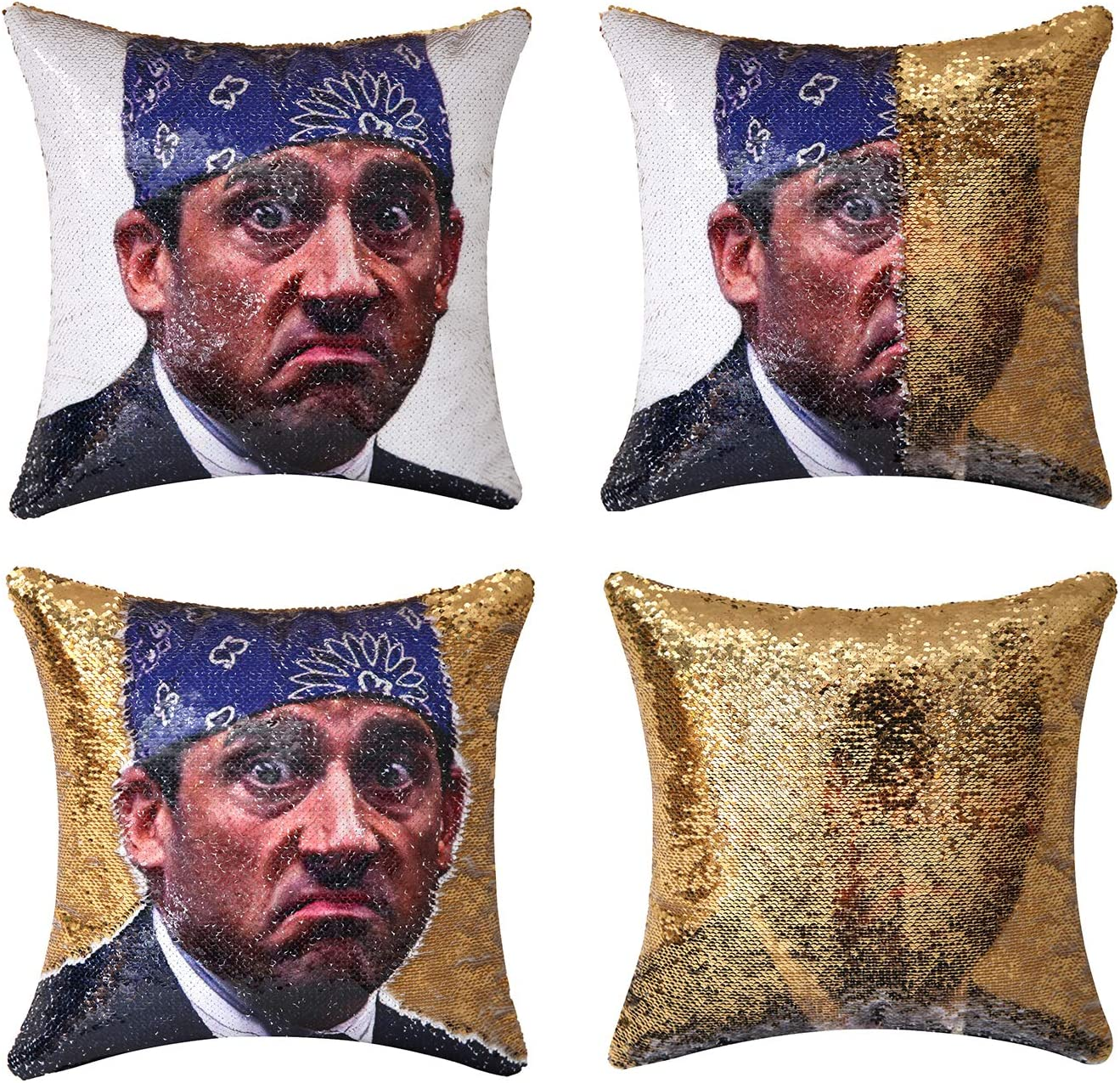 cygnus The Office Michael Scott Quote Humor Sequin Reversible Pillowcover Mermaid Flip Pillow Case That Color Change Decor Cushion 16x16 inches (Gold Sequin)