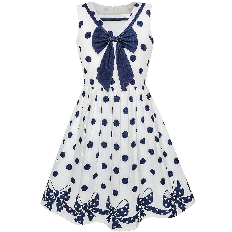 Sunny Fashion Girls Dress Navy Blue Dot Bow Tie Back School Size 5-12
