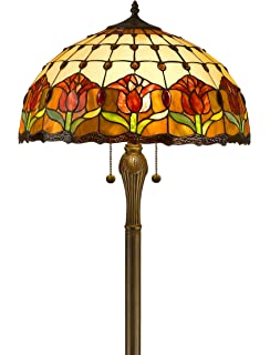 Amora Lighting AM002FL18 Tiffany Style Tulips Floor Lamp 18 Inch Shade,  Multi