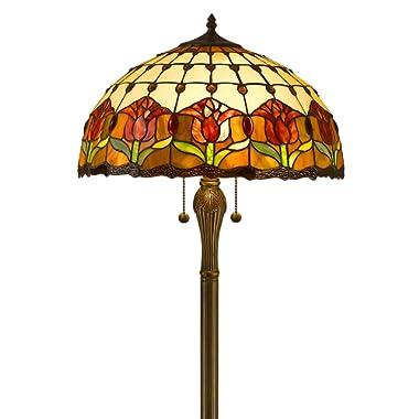 Amora Lighting AM002FL18 Tiffany Style Tulips Floor Lamp 18-Inch Shade, Multi