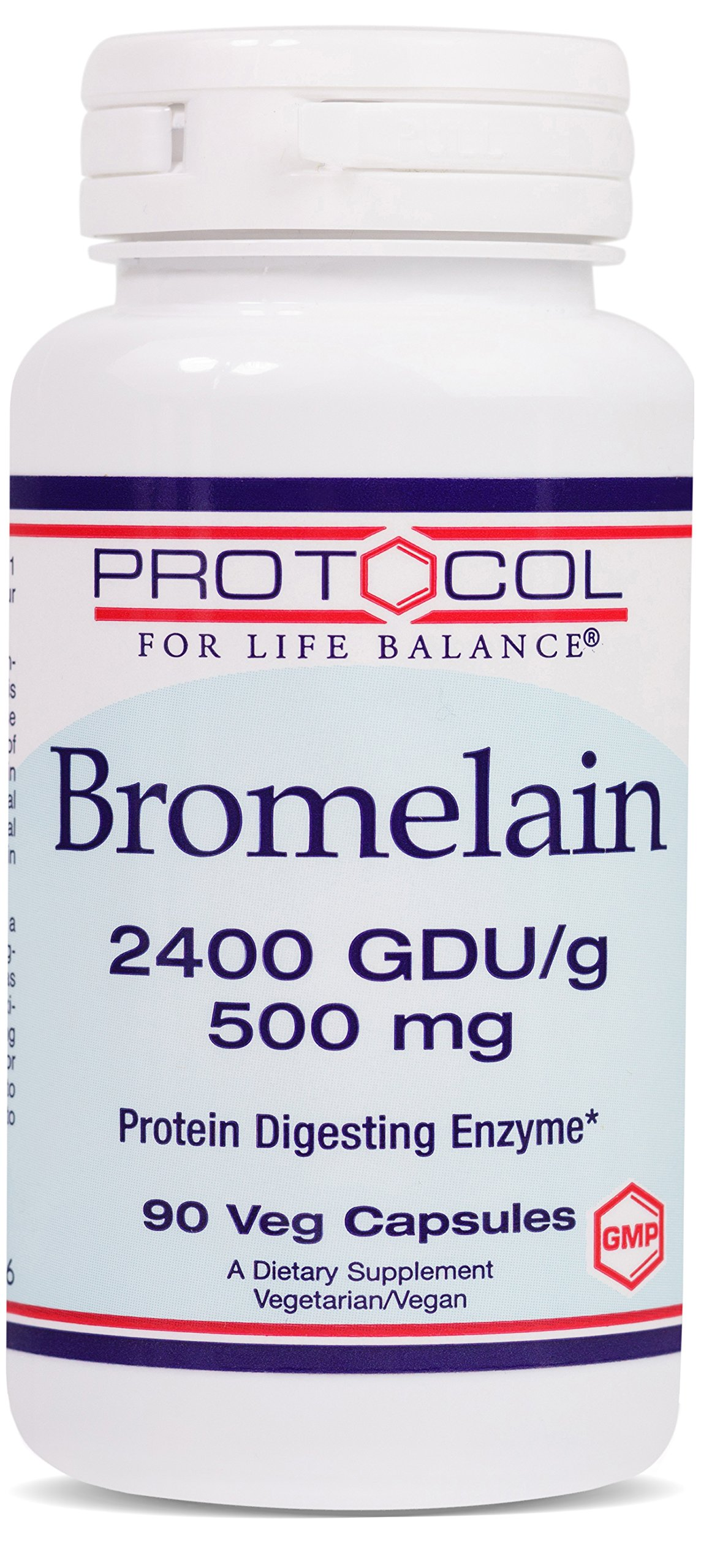 Protocol For Life Balance - Bromelain 2400 GDU/g 500 mg - Protein Digesting Enzyme, Supports Healthy Digestion, Nutrient Absorption, Reduce Inflammation, Gas & Stomach Pain Relief - 90 Veg Capsules