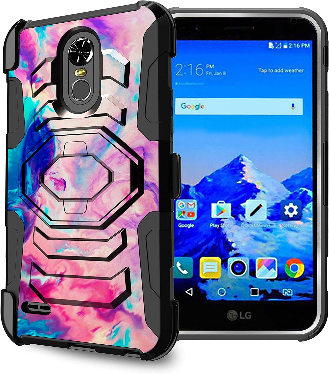 Untouchble Case for LG Stylo 3, LG Stylo 3 Plus Holster Case [Max Alpha Holster] Dual Layer Hybrid Belt Clip Kickstand Cover Protector Rugged - Colorful Marble