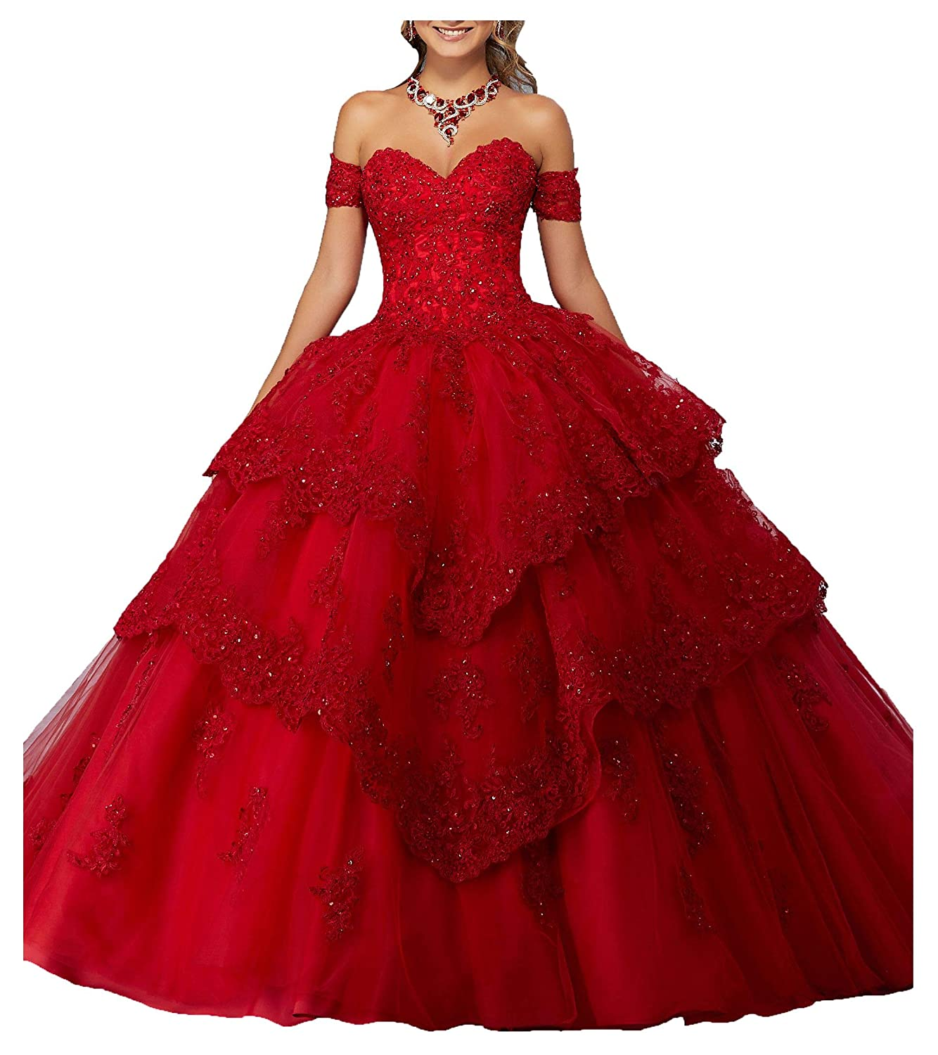 Red B MFandy New Sweetheart Girls 16 Quinceanera Dress Appliques Beaded Ball Gowns